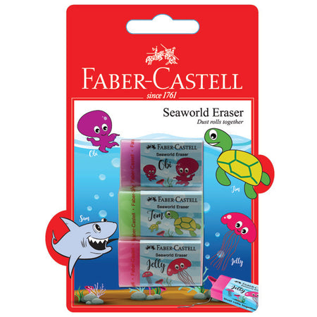 Eraser Dust-free Seaworld, blistercard of 3