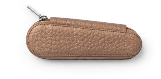 Leather case with zipper for 2 pens golden brown