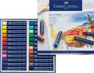 Oil pastels, cardboard wallet of 24