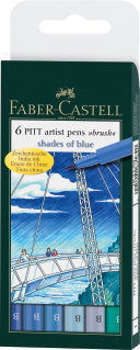 Pitt Artist Pen Brush India ink pen, wallet of 6, Blues