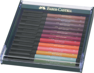 Pitt Artist Pen Brush India ink pen, set of 12, Earth tones