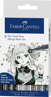 Pitt Artist Pen India ink pen, wallet of 8, Manga Basic set