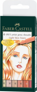 Pitt Artist Pen Brush India ink pen, wallet of 6, Light skin