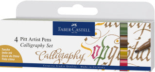 Pitt Artist Pen Calligraphy India ink pen, set of 4, colours