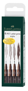 Pitt Artist Pen India ink pen, wallet of 4, dark sepia