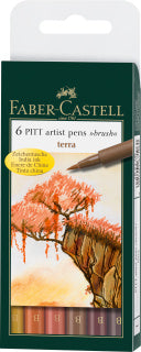 Pitt Artist Pen Brush India ink pen, wallet of 6, Terra