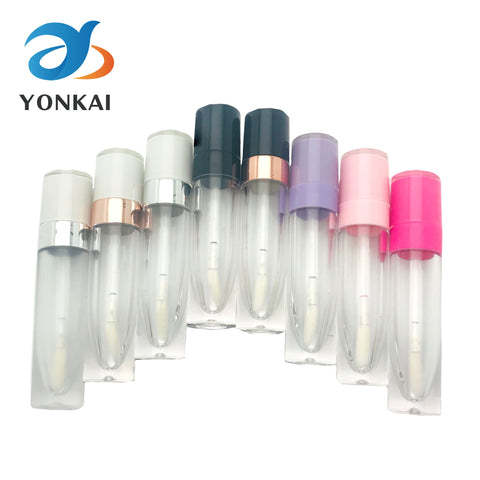 30/50/100PCS 5ML ABS Lip Gloss Tubes Empty Plastic Lipgloss Tube With wand White Cap Lip glaze container Cosmetic packing