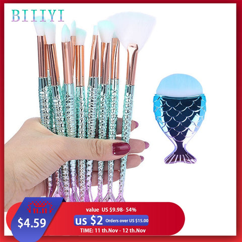 Makeup Brushes Kit Natural Tool Mermai Pencil