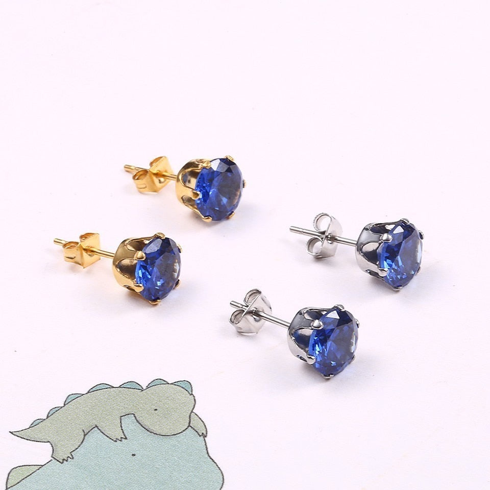 Men Zircon Crystal Stud Earrings - Thamaras