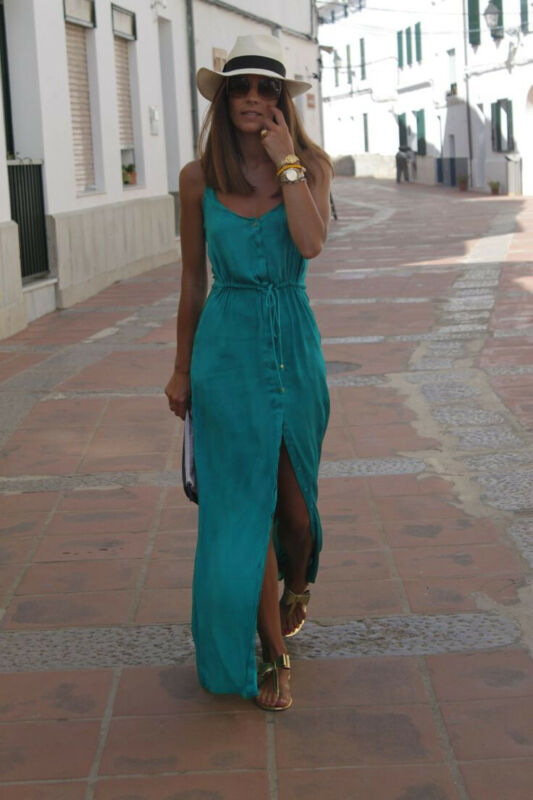 Solid Sleeveelss Button Split Blue Long Maxi Dress - HiMayura