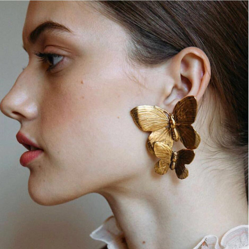 Butterfly Stud Earrings - Gold Color - HiMayura