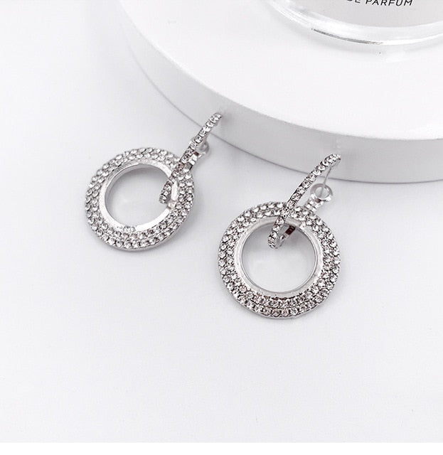 Rhinestone Party Earrings - HiMayura