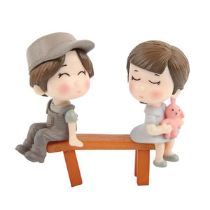 Lovers Couple Chair Figurines Miniatures Fairy Garden Gnome - HiMayura