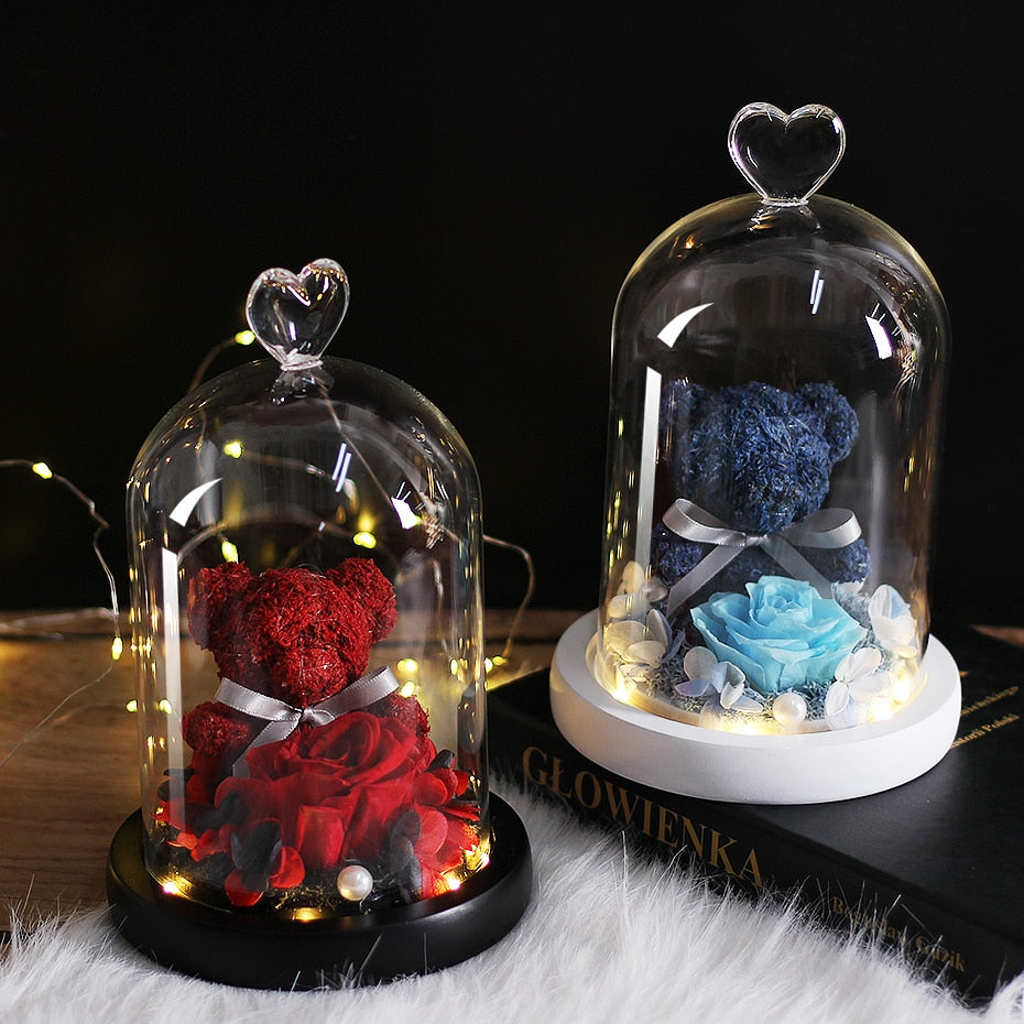 Teddy Bear Rose Flowers In Glass Dome - HiMayura