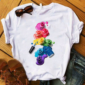 3D Finger Nail Paint Color T-shirt - HiMayura