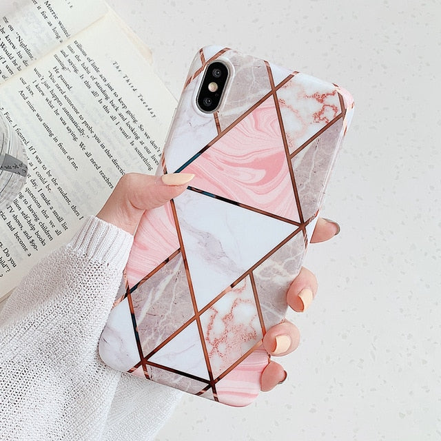 Geometric Waterproof Marble Phone Cases For iPhone - Thamaras