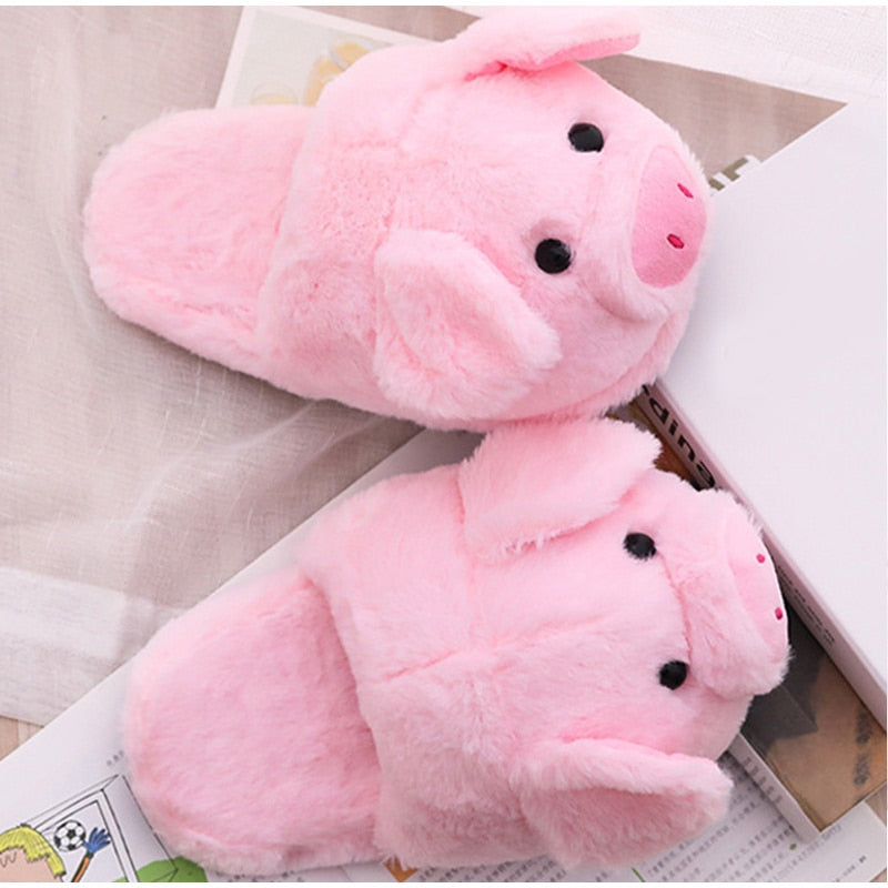 Cute Pink Pig Soft Plush Shoes - HiMayura