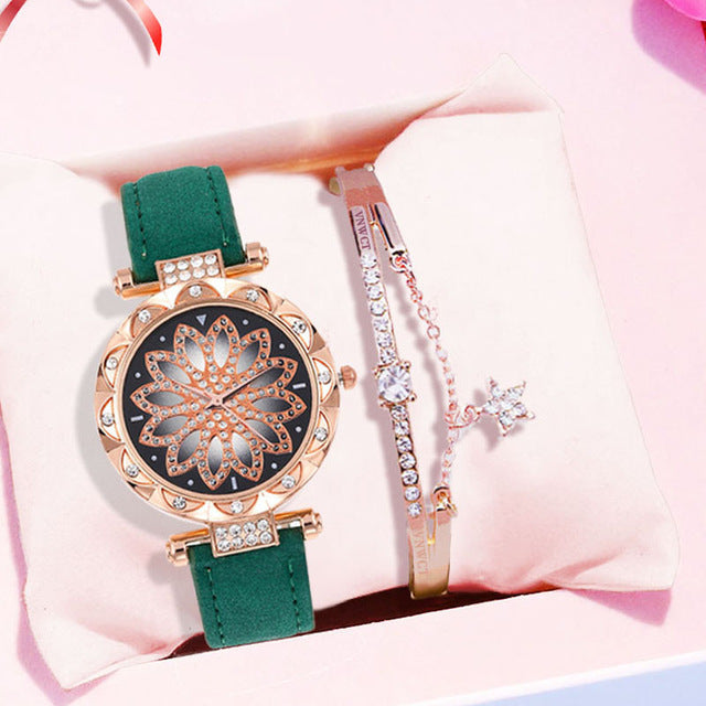 Starry Sky Ladies Bracelet Watch With Leather - HiMayura