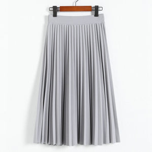High Waist Solid Color Skirt - HiMayura