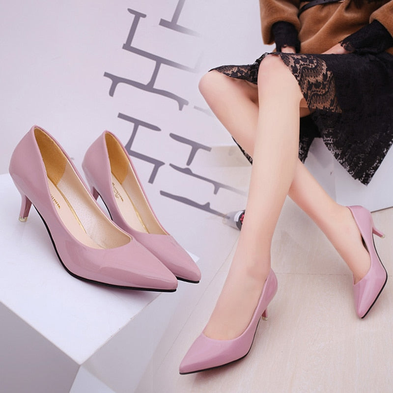 Office Lady Low Heel Pumps - HiMayura