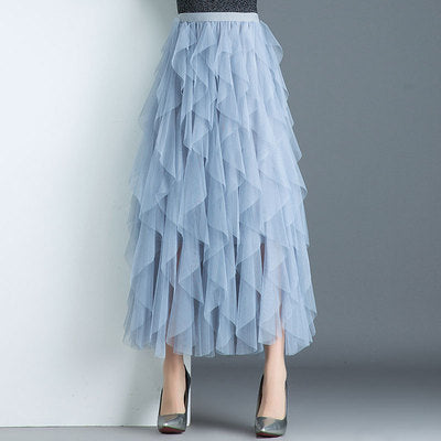 High Waist Mesh Midi Skirt - HiMayura