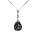 Teardrop Black & White Diamond Pendant