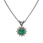 Starburst Emerald & Diamond Pendant