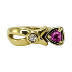 14K Two-Tone Pink Sapphire & Diamond Ring