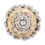 14K White and Yellow Gold Etruscan Diamond Shield Ring