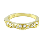 18K Yellow Gold Diamond Wave Band
