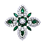 Platinum Emerald and Diamond Snowflake Pin-Pendant