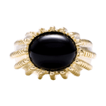 14K Yellow Gold Bold Onyx Dome Ring