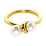18K Yellow Gold Double Pearl Ring
