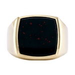 18K Yellow Gold Gents Bloodstone Ring