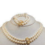 Double Strand Cultured Pearl Necklace & Bracelet Set