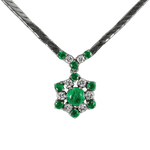 14K White Gold Emerald and Diamond Snowflake Necklace