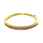 14K Yellow Gold Pink Sapphire & Diamond Bangle