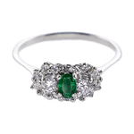 Vintage Platinum Emerald and Diamond Ring