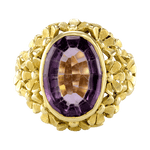 18K Yellow Gold Amethyst Floral Ring