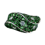 18K White Gold Tsavorite & Diamond Wave Ring