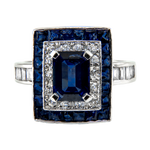 Art-Deco Platinum Sapphire and Diamond Ring
