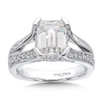Emerald Cut Center Split Shank Engagement Ring