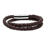 Double Round Genuine Braided Leather Bracelet