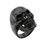 Black Plated Skull All Teeth Out Ring