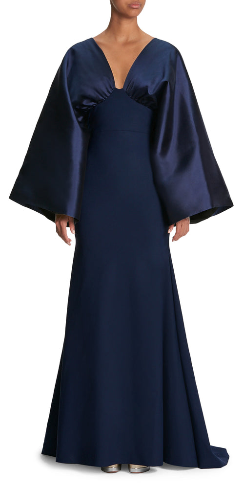 Leonita Long Sleeve V Neck Gown