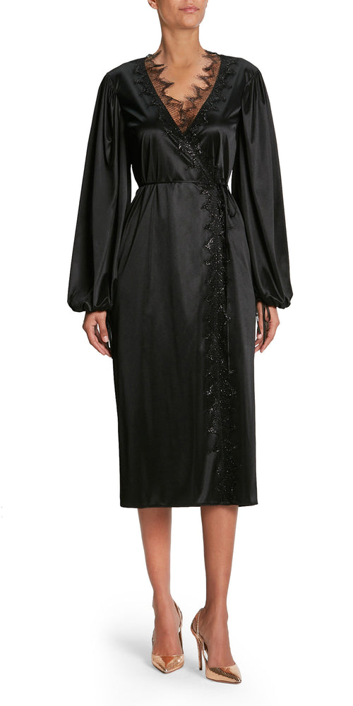 Long Sleeve Lace Trim Wrap Dress
