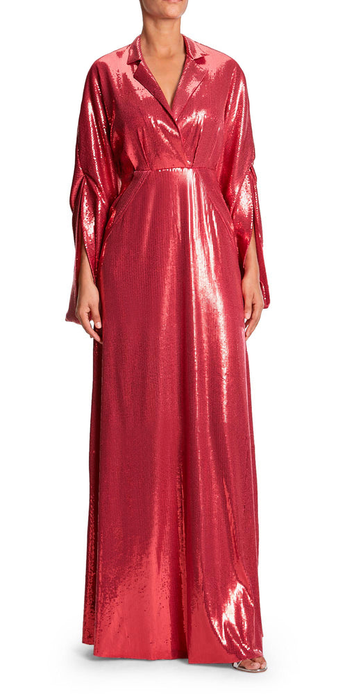 Voile Long Sleeve Sequin Gown