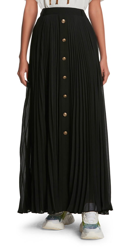 Pleated Buttoned Long Skirt