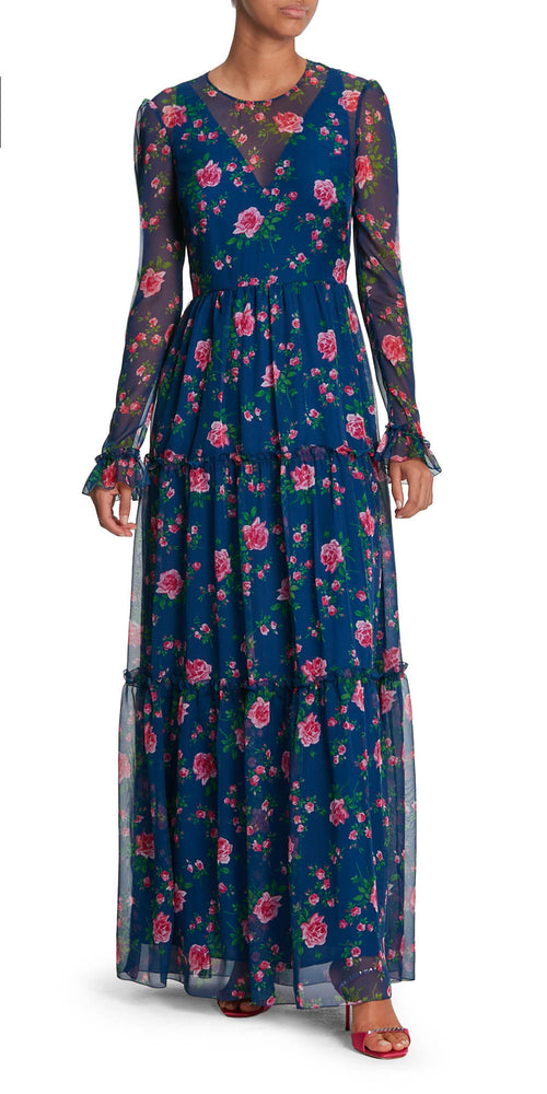 Long Sleeve Rose Print Dress