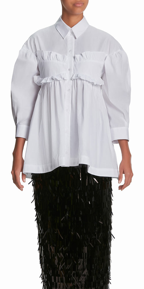 Puff Sleeve Ruffle Shirt